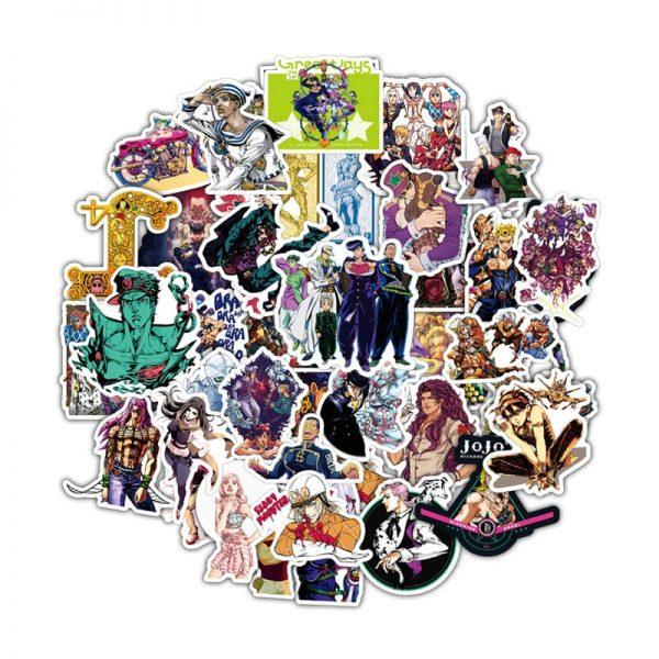50pcs set Anime Jojo Bizarre Adventure Waterproof Sticker Cosplay Accessories Prop - Jojo's Bizarre Adventure Merch