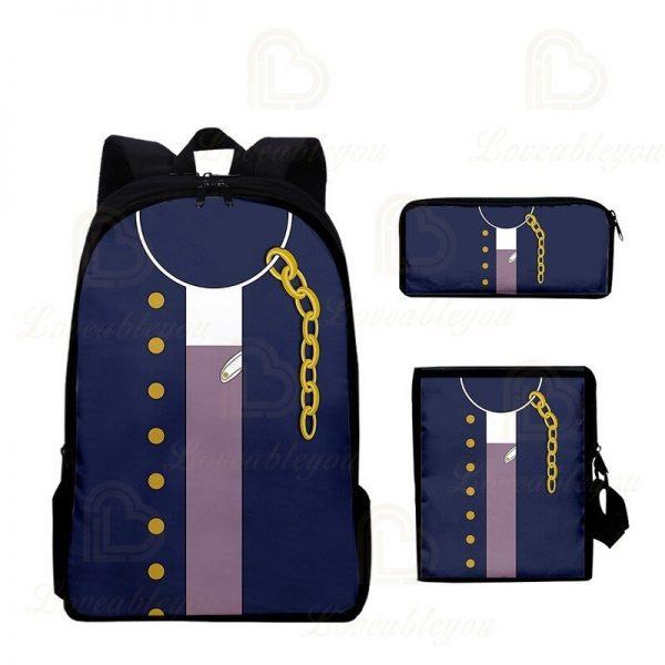2020 New JOJO Bizarre Adventure Oxford Cloth Three piece Pencil Case Shoulder Bag Backpack Backpack Set 3 - Jojo's Bizarre Adventure Merch