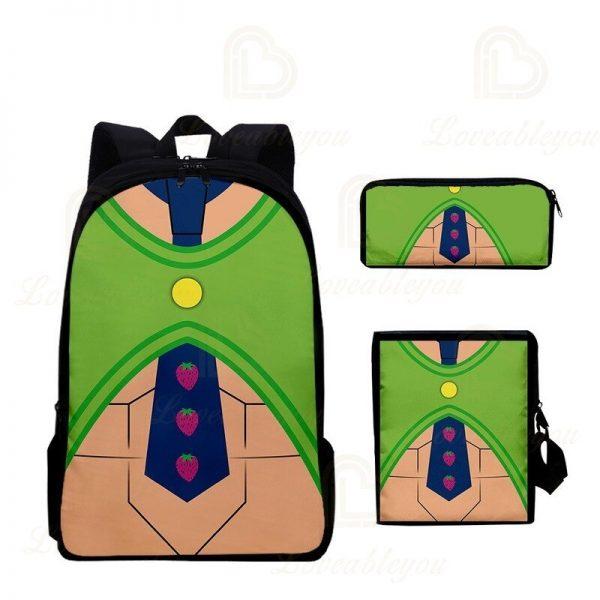 2020 New JOJO Bizarre Adventure Oxford Cloth Three piece Pencil Case Shoulder Bag Backpack Backpack Set 5 - Jojo's Bizarre Adventure Merch