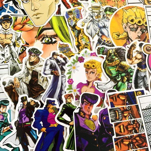 50pcs set Anime JoJo Bizarre Adventure Stickers Cosplay Accessories Prop PVC Waterproof Cartoon Decal Sticker 2 - Jojo's Bizarre Adventure Merch