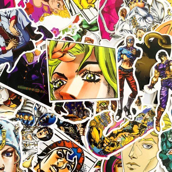 50pcs set Anime JoJo Bizarre Adventure Stickers Cosplay Accessories Prop PVC Waterproof Cartoon Decal Sticker 3 - Jojo's Bizarre Adventure Merch