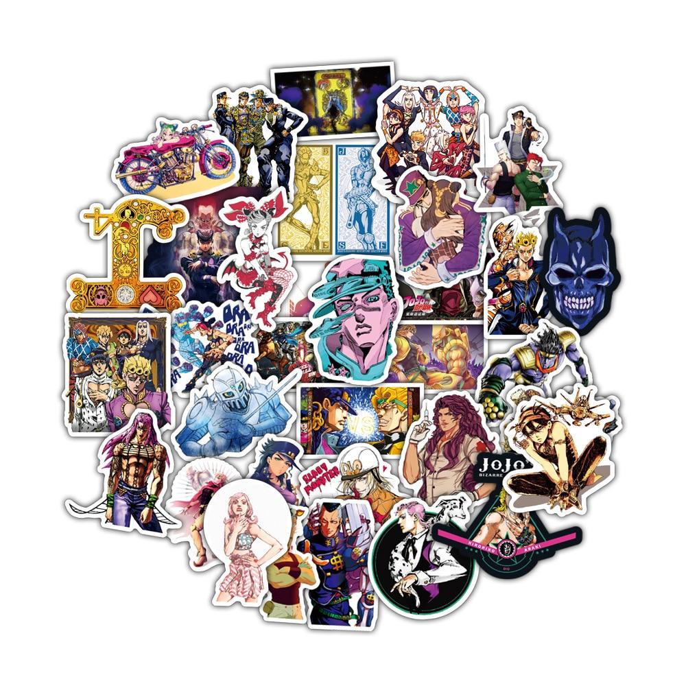 50pcs set Anime JoJo Bizarre Adventure Stickers Cosplay Accessories Prop PVC Waterproof Cartoon Decal Sticker 4 - Jojo's Bizarre Adventure Merch