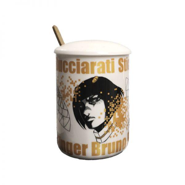 Ainme JoJo Bizarre Adventure Bruno Bucciarati Cosplay Cup Gold Ceramics 400ml Mug Cup Spoon Cover 1 - Jojo's Bizarre Adventure Merch