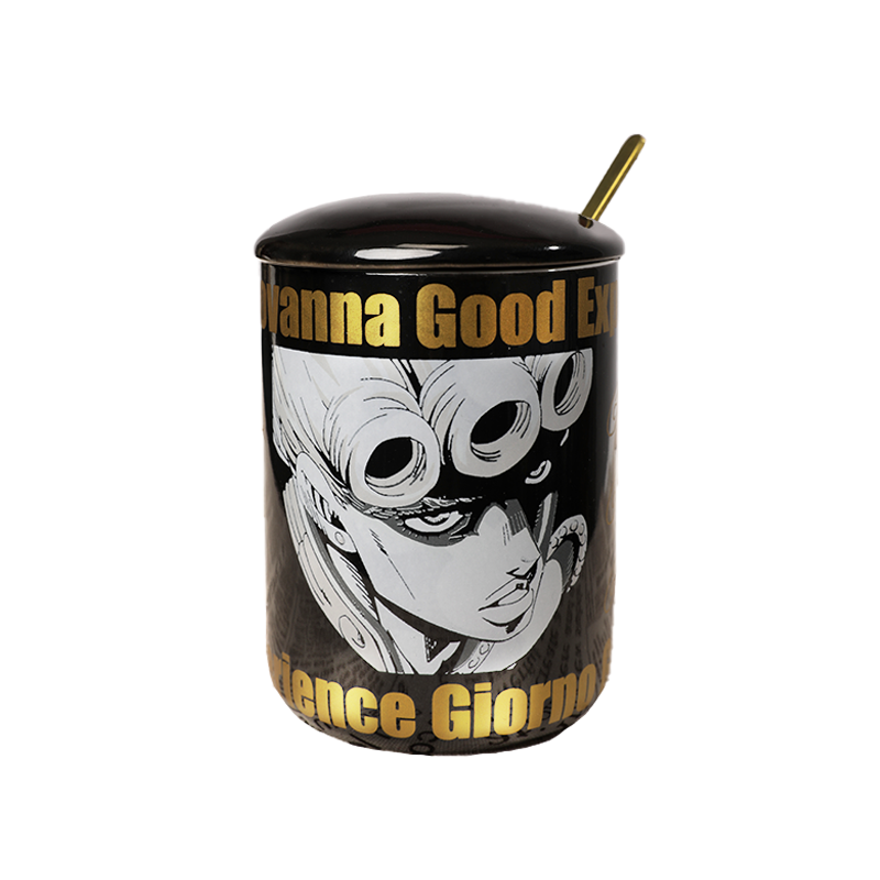 Ainme JoJo Bizarre Adventure Bruno Bucciarati Cosplay Cup Gold Ceramics 400ml Mug Cup Spoon Cover - Jojo's Bizarre Adventure Merch