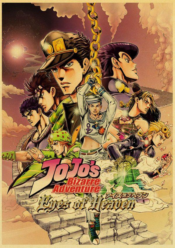 classic Anime JoJo s Bizarre Adventure JOJO Poster Action Anime retro Poster Painting Wall Art for 1 - Jojo's Bizarre Adventure Merch