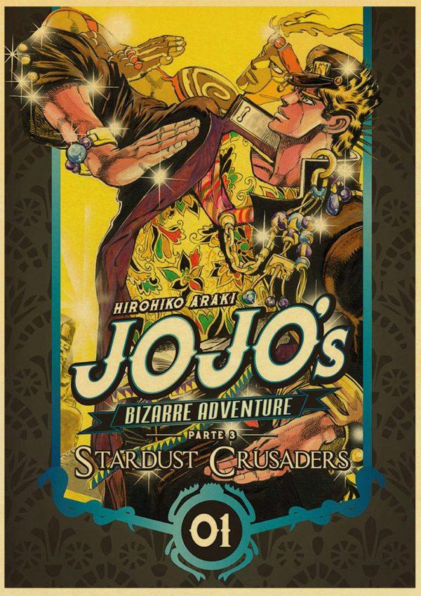 classic Anime JoJo s Bizarre Adventure JOJO Poster Action Anime retro Poster Painting Wall Art for 3 - Jojo's Bizarre Adventure Merch