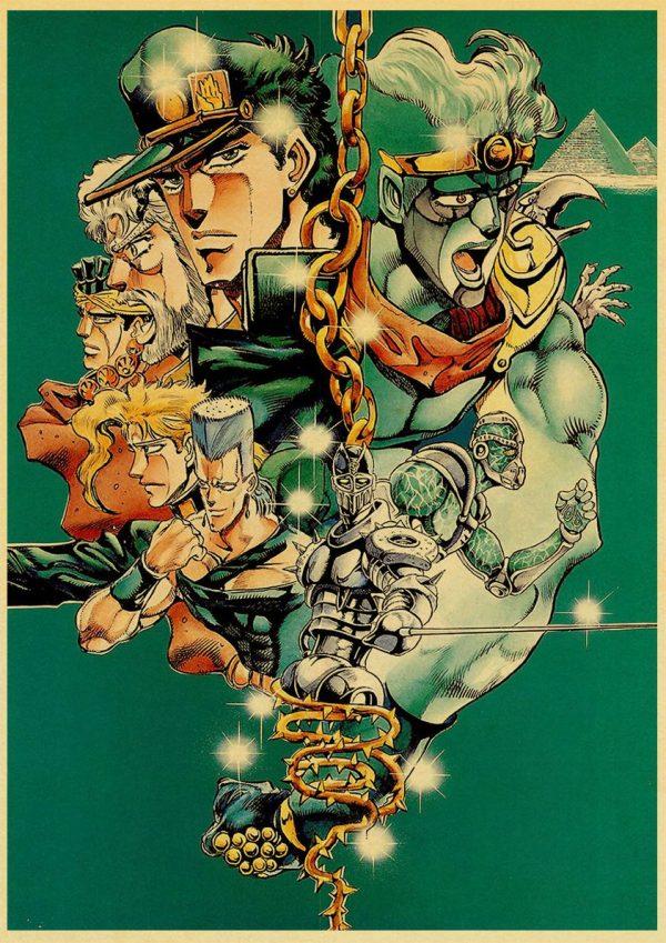 classic Anime JoJo s Bizarre Adventure JOJO Poster Action Anime retro Poster Painting Wall Art for 4 - Jojo's Bizarre Adventure Merch