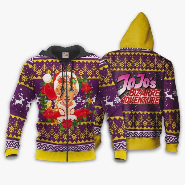 1104 AOP Jojo Characters Ugly Xmas VA Giorno Giovanna 1 Zip hoodie font and back n - Jojo's Bizarre Adventure Merch