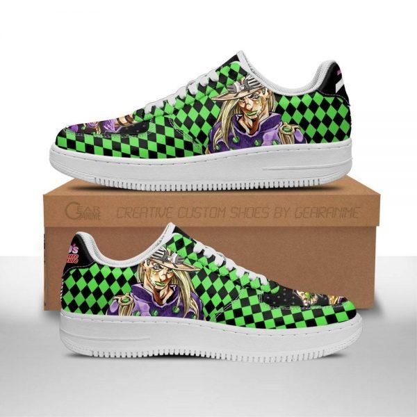 gyro zeppeli air force sneakers custom jojos anime shoes fan gift idea pt06 gearanime - Jojo's Bizarre Adventure Merch